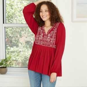 Knox Rose Long Sleeve Embroidered Blouse NWT